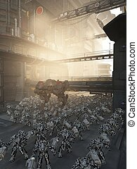 Science fiction urban pacification scene set in a futuristic high rise city patrolled by an army of combat machines, 3d digitally rendered illustration