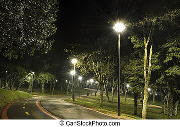 urban park at night with lights
