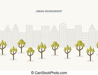 Urban park city landscape seamless border