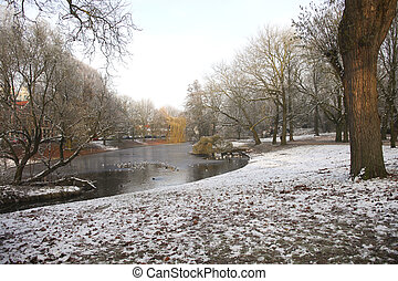 Urban park in winter