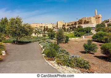 Urban park, Tower of David and citadel in Jerusalem.