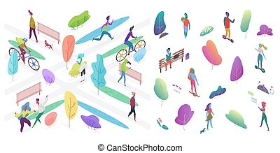 Urban park with people vector isometric illustration