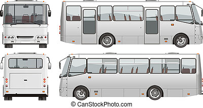 urban passenger mini-bus. Available EPS-10 vector format separated by groups and layers for easy edit