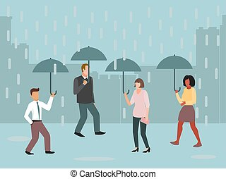 Urban people under umbrellas in rainy day vector illustration. Rain, grey clouds and bad weather in the cities.