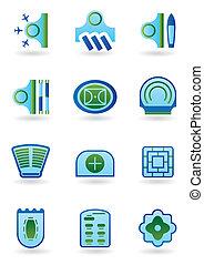 Urban public buildings icons set