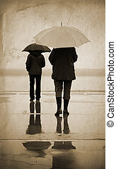 urban rain - special toned and textured, focus point on...