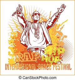 urban rapper - hip hop vector illustration - urban rapper -...