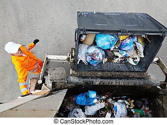 Urban recycling garbage services - Worker of urban municipal...