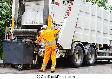 Urban recycling waste and garbage services - Worker of urban...