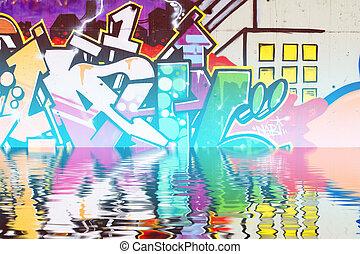 urban, reflexion, pilar, graffiti, artistisk, vatten