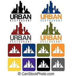 urban restaurant concept and icon set