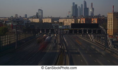 Urban road traffic long exposure time lapse - Moscow city,...