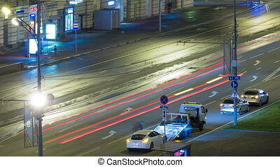 Urban road with cars and pedestrians Russia Moscow
