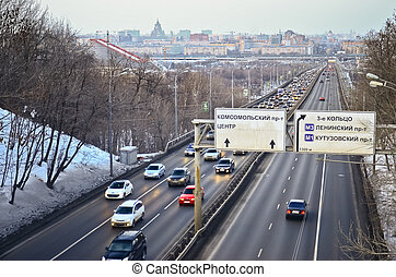 Urban road with cars. View from above, Moscow