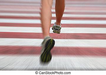 Urban running - City Running. Closeup of woman running shoes...