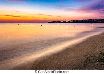 urban sand beach early in the morning - urban sand beach in...