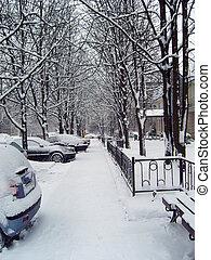 Urban scene after snowfall.