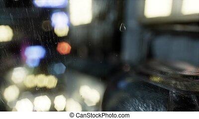 Urban Scene at Rainy Night - urban scene at rainy night with...