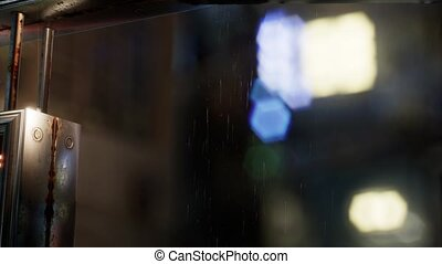urban scene at rainy night with bokeh lights