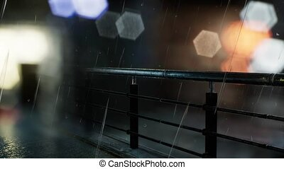 urban scene at rainy night with bokeh lights