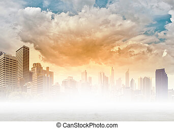 Background image with buildings and urban scenes