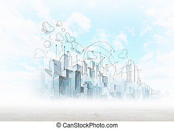 Background sketch image with buildings and urban scenes