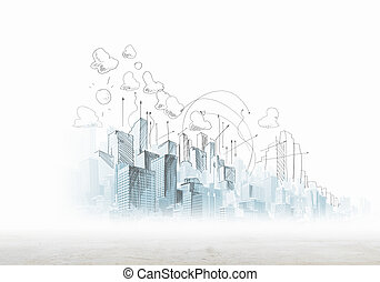 Urban scene - Background sketch image with buildings and ...