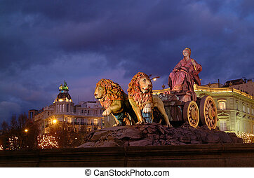 urban scene Cibeles Square with the monument of the same in the foreground