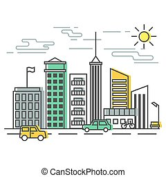 Urban Scene, city street with buildings and cars. Vector illustration in flat style.