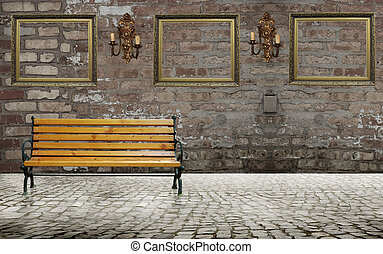 Deck chair with frames on the wall in urban scene