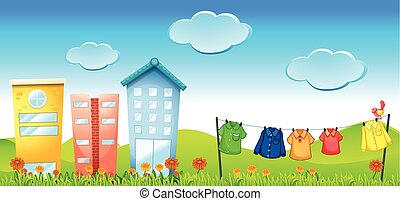 Illustration of an urban scene on a sunny day