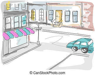 Urban Scene Illustration