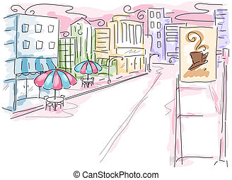 Urban Scene Illustration