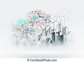 Urban scene - Background sketch image with buildings and...