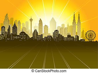 Urban sunrise or sunset scene, vector illustration layered.