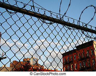 Urban Scene with Barbed Wire