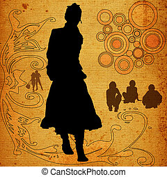 urban scene with women, couple and man silhouettes, flowers and circles in background