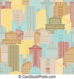 Urban seamless pattern. Colorful buildings in city, metropolis. Multi-colored skyscrapers and office building.