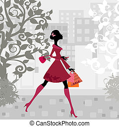 urban shopping girl