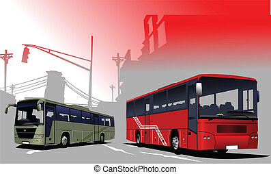 Urban  silhouette and buses image.