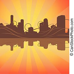 urban silhouette background. vector