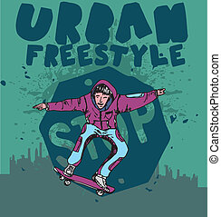 urban skate team vector art