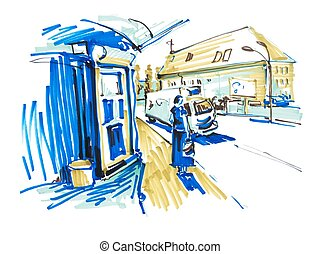 markers drawing of street city Kyiv Ukraine with busstation