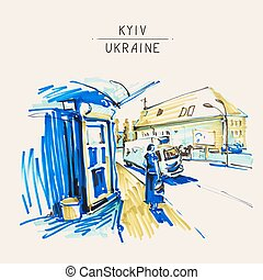 urban sketch markers drawing of street city Kyiv Ukraine