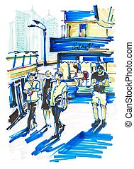 markers drawing on paper of street city Kyiv Ukraine