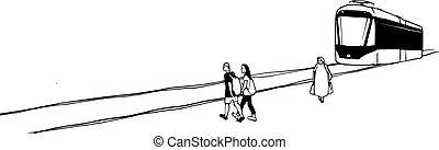 Urban sketch of tram and people. Vector black and white hand...