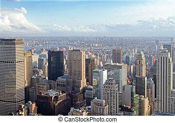 urban skyline at sunset. New York city