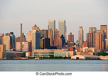 Urban skyline from New York City Manhattan