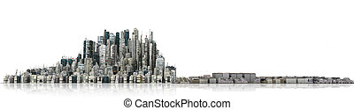 Urban skyline. View to modern city from high-rise buildings...