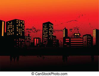 urban skylines - Vector illustration of urban skylines